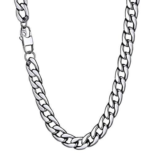 Collar Hombre de Acero Inoxidable Plata Cadena Cubana de Eslabones Cuadrados Ancho 6/10/12MM, 36/46/51/55/61/66/71/76cm Joyas en Caja