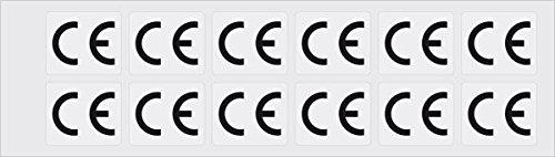 LEMAX® CE-Zeichen, rechteckig, weiß/schwarz, Folie, selbstklebend, 60x45mm, 12/Bogen