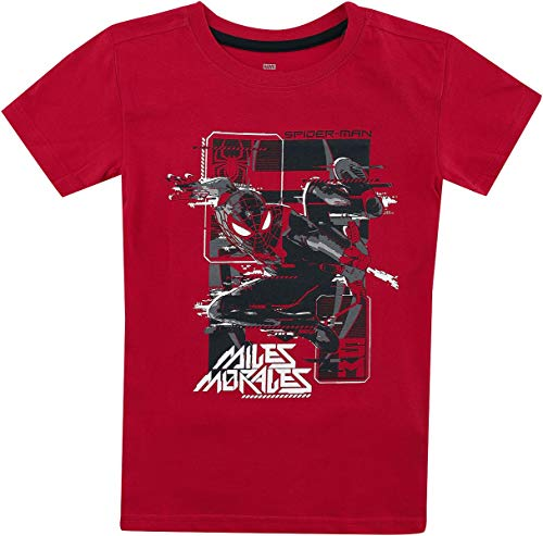 Spider-Man Miles Morales - Glitch Hombre Camiseta Rojo 134/140, 100% algodón,