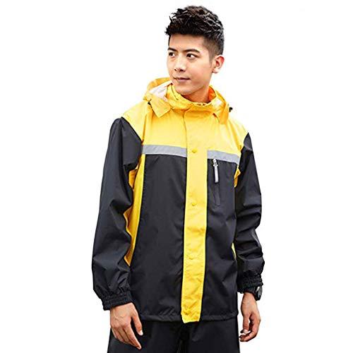 BRTXFD La Mode Poncho Pluie Impermeable Tops + Pantalons, en Tissu Polyester imperméable de Haute qualité,Double Couche Respirante,Poncho ImperméAble de Homme Adulte,B,L