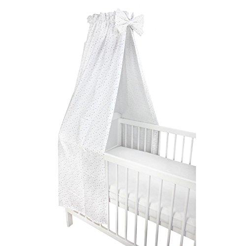 TupTam Babybett Himmel mit Schleifchen, Farbe: Sterne Weiß 2, Größe: ca. 160x240 cm
