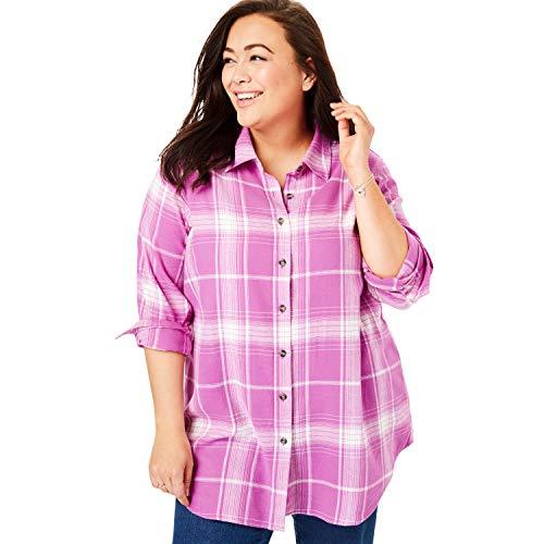 Woman Within Women's Plus Size Classic Flannel Shirt - Rosebud Plaid, 1X