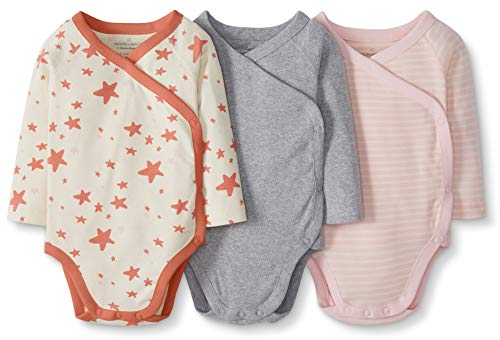 Moon and Back by Hanna Andersson Baby 3-Pack Organic Cotton Long Sleeve Side Snap Bodysuit, Pink, Newborn
