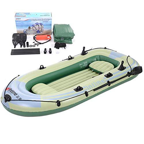 LXDDP 4 Personas Bote Inflable Barco Pesca Goma Bote remos con Bomba, remos, Herramienta reparación Soporte hasta 320 kg Adecuado para Pesca, Deportes acuáticos, Vacaciones y Ocio, 3