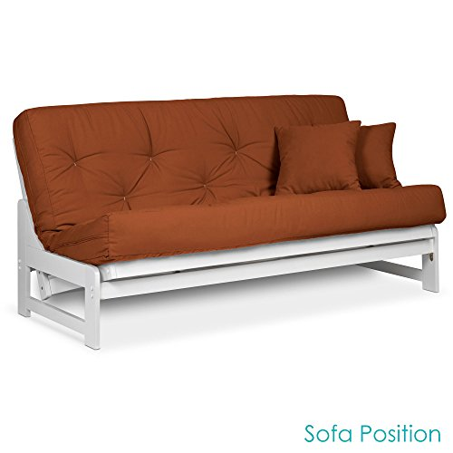 Nirvana Futons Arden Armless White Wood Futon Frame Full or Queen Size - Solid Hardwood Sofa Bed Frame Construction, Space Saving Design Ideal for RV, Small Rooms, and Dorms