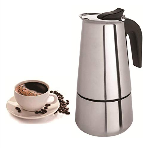 Stovetop Espresso Maker Stainless Steel Moka Pot Percolator Coffee Pot Home or Office Espresso Coffee Machines With insulation pad and brush,300ml/450ml/600ml 3 Models(300ML)