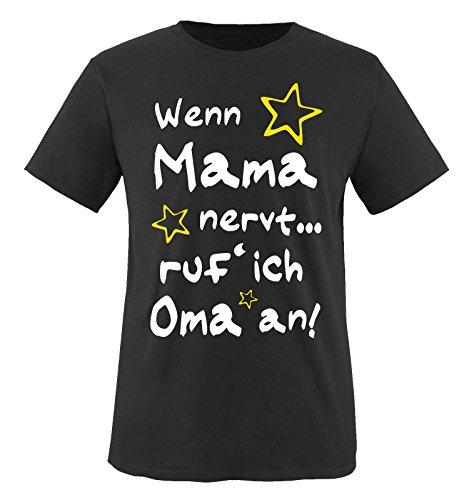 Comedy Shirts - Wenn Mama nervt. ruf´ ich Oma an! - Kinder T-Shirt - Schwarz/Weiss-Gelb Gr. 134-146