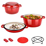 Enamel Cast Iron Dutch Oven with Lid & Handles, Pre-seasoned Coated Cookware Compatible Non-Stick Pot with Silicone Mat for Camping Cooking, BBQ, Basting, or Baking (red)