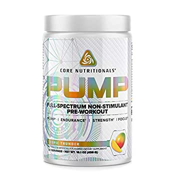 Core Nutritionals Pump Full-Spectrum Non-Stimulant Pre-Workout with N03T® Nitrate Peak02® Alpha GPC for Maximum Pump Strength and Performance 20 Servings  Tropic Thunder