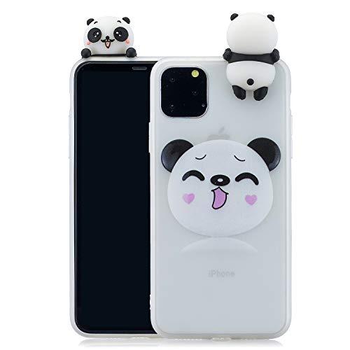 CrazyLemon Hülle für iPhone 11 Pro, 3D Niedlich Modisch Lächelnd Panda Muster mit Stehen Puppe Weich TPU Silikon Handyhülle Voller Schutz Stoßfest für iPhone 11 Pro 5.8 Zoll - Pattern 10