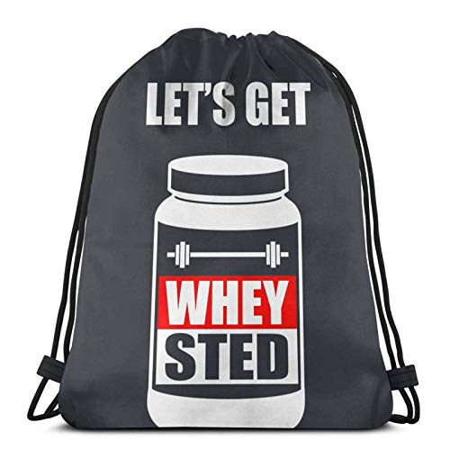 LREFON Mochila Saco Let 'S Get Whey-Sted Funny Gym Bodybuilding Protei