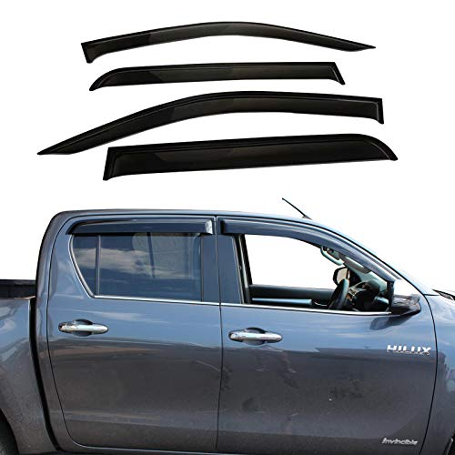 JHCHAN 4 deflettori d'aria antipioggia nero per Toyota Hilux Reco Rocco 2015-2020 AN120 AN130 MK8 Pick-up doppia cabina acrilico nero fumé