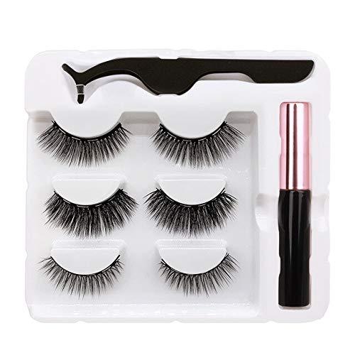3 Paare Magnetische Wimpern Und Eyeliner wasserdichte Pinzette Natürliche Lange Set In Bulk3D FalscheWimpern Make-Up-Tool