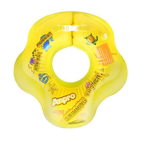 Anpro Baby Schwimmring Aufblasbarer Schwimmtrainer, Mitwachsende Schwimmhilfe, Schwimmsitz Schwimmreifen, Baby Float Innendurchmesser 15cm, Außendurchmesser 56cm für Babys ab 3 bis 12 Monate