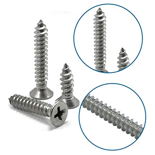 Luchang M1 M1.2 M1.4 M1.7 M2 Stainless Steel Standoff Phillips Countersunk Head Self-Tapping Wood Small Laptop Screw Micro Screw (M1 500Pcs,5mm)