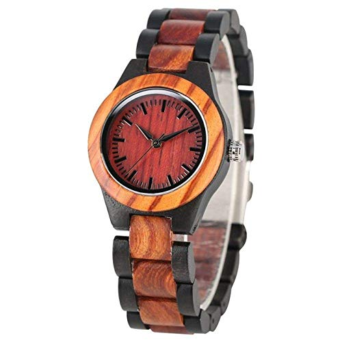 Reloj de madera con esfera azul zafiro único reloj de madera hecho a mano, correa de madera completa, reloj de cuarzo para mujer, reloj de vestir para mujer, color rojo