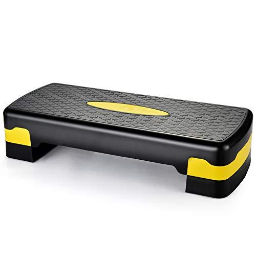 TOGEDI Aerobic-Stepper, höhenverstellbar, 3 x Höhenstufen, 10 cm, 16 cm und 22 cm, Cardio-Übungs-Stepper mit gratis Anti-Rutsch-Matte, für Home-Gym-Workout-Routines-Training, Gelb