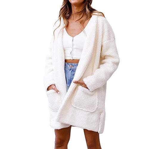 Adelina Mantel pluche winterjas gewatteerde jas met capuchon outwear cardigan vrouwen elegante lange mouwen Completi mouwen effen wit parka Coat gebreide jas met zakken
