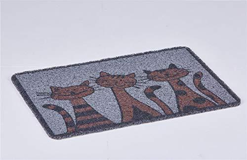 Euro Tische Fußmatte 60 x 40 cm rutschfest für Innen & Außen - Schmutzfangmatte in 6 verschiedenen Motiven für einen sauberen Eingangsbereich (Katze)