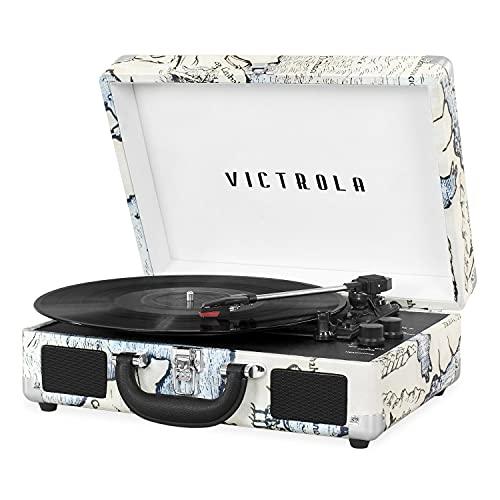Victrola Giradischi a 3 velocità con Bluetooth, stile vintage, a valigetta, colore nero