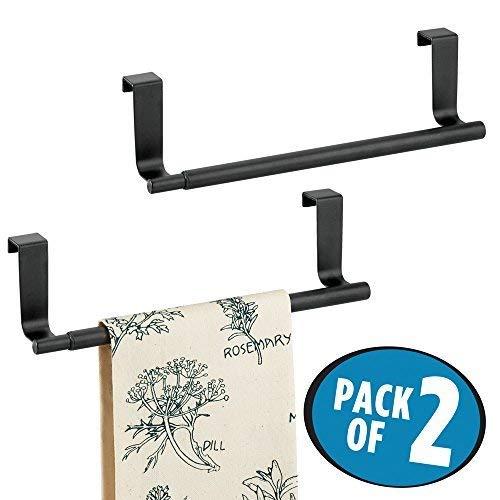 mDesign Handtuchhalter ausziehbar zum Aufhängen - Farbe: Schwarz - Geschirrtuchhalter Küchenschrank - Handtuchhalter ohne Bohren - 2er Set