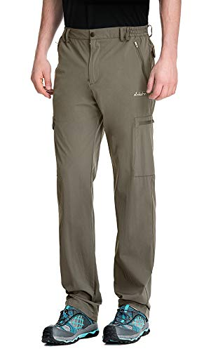 clothin Men's Elastic-Waist Travel Pant Stretchy Lightweight Cargo Pant Quick Dry Breathable(Khaki L-30)