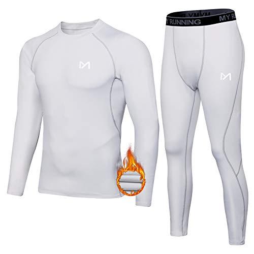 MEETYOO Thermounterwäsche Set Herren, Lange Funktionswäsche Atmungsaktiv Unterwäsche Sport Kompressionsanzug für Workout Skifahren Laufen Wandern (Weiß, XL)