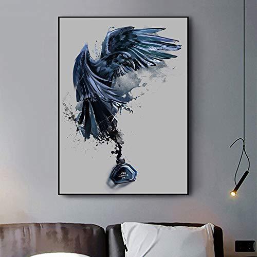 wZUN Tinta Abstracta águila Cartel Lienzo Pintura Animal Imagen Sala de Estar Arte Decorativo Carteles de Pared e Impresiones 60x80 Sin Marco