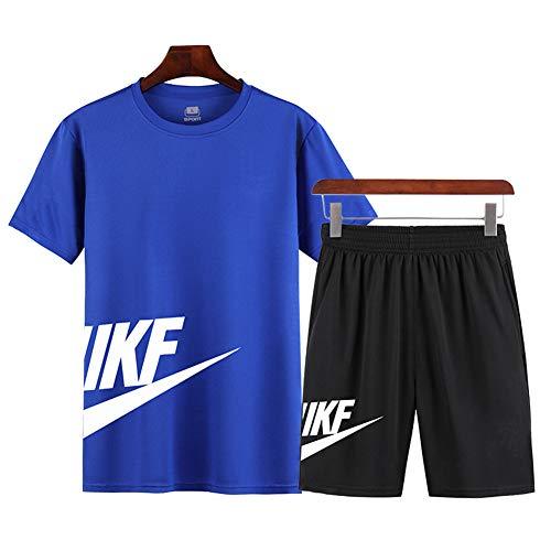 Traje deportivo de verano para hombre, camiseta de manga corta + pantalones cortos, traje de secado rápido, utilizado para ejercicios de gimnasio y correr (azul, 5XL)