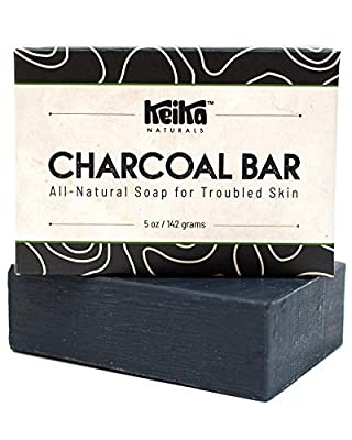 Keika Naturals Charcoal Black Soap Bar for Acne, Eczema, Psoriasis, Face, Body, Men Women Teens with Oily Skin, 5 oz. by Keika Naturals