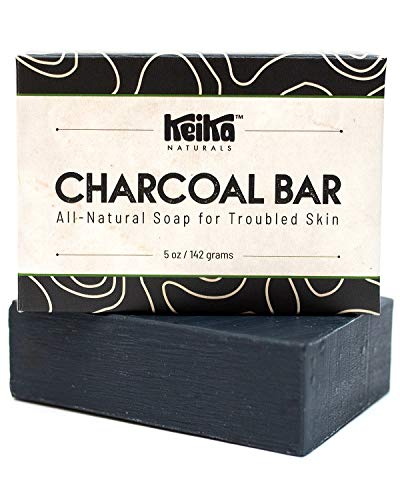Keika Naturals Charcoal Black Soap Bar for Acne, Eczema, Psoriasis, Face, Body, Men Women Teens with Oily Skin, 5 oz. (Charcoal+, 1-Pack)