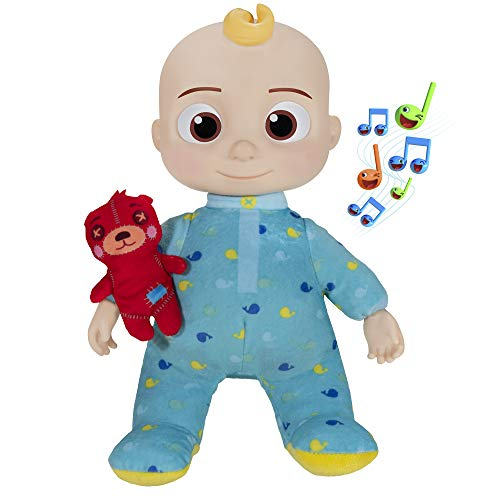 Cocomelon Official Musical Bedtime JJ Doll, Soft Plush Body – Press Tummy and JJ Sings 'Yes, Yes, Bedtime Song,' Roto Head – Includes Feature Plush and Small Pillow Plush Teddy Bear – Toys for Babies