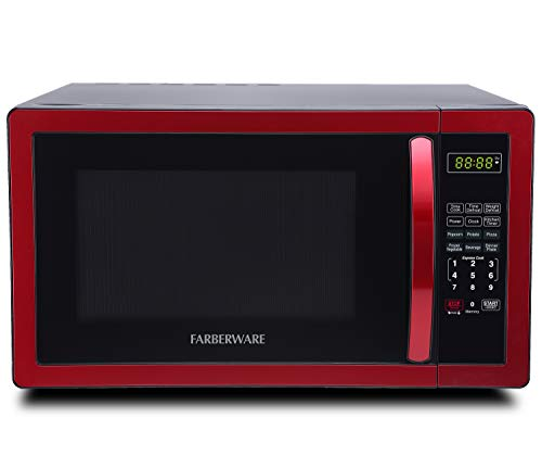 Farberware Classic FMO11AHTBKN 1.1 Cu. Ft. 1000-Watt Microwave Oven with LED Lighting, Metallic Red