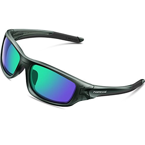 TOREGE Polarized Sports Sunglasses for Man Women Cycling Running Fishing Golf TR90 Unbreakable Frame TR011 (Transparent Gray&Green Lens)