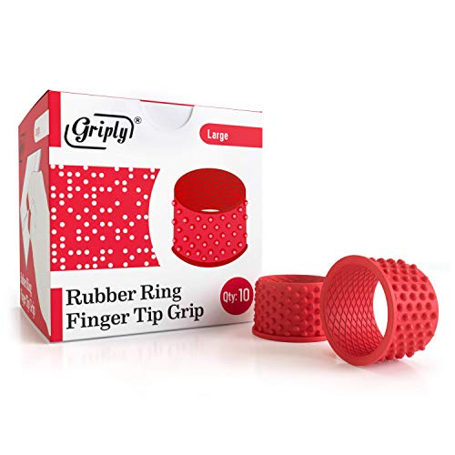 Griply Rubber Finger Tips | Hand Grips | Rubber Tip Finger Protector | Finger Pads (Large)