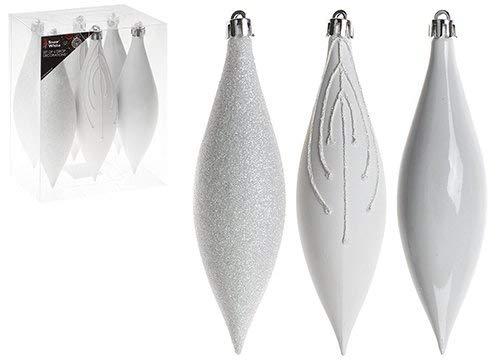 christmasshop PMS Set di 6Decorazioni Pendenti 15cm in Scatola in PVC, Bianco