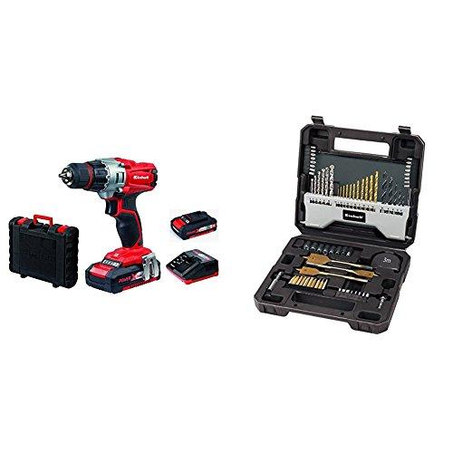 Einhell - Taladro 18V sin cable Expert TE-CD 18/2 Li con 2 baterías Power X-Change (incluye maletín BMC, 2 baterías de 1,5 Ah y cargador) + Set de 70 brocas 4258085 con maletín