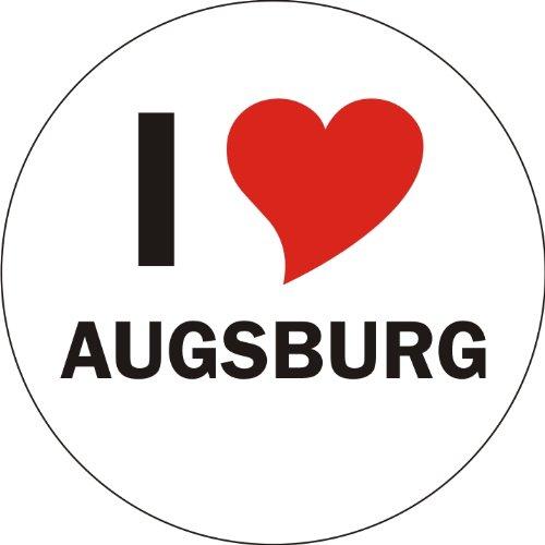 Aufkleber / Sticker / Autoaufkleber - I LOVE Augsburg - JDM / Die cut / OEM - Auto / Heckscheibe - aussenklebend, rund, Größe: 80mm