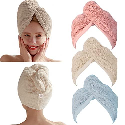 3 paquetes de pañuelos para el pelo, turbante, de secado rápido, absorbentes, de microfibra, con botón, para mujeres