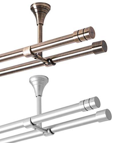 Rollmayer metall Gardinenstange Ø 16mm Rohr, Gold für Ösenvorhang Gardinen Vorhang (Lento 320cm lang, Gold, Deckenbefestigung 2-läufig) Modern Vorhangstange Ohne Ringe!