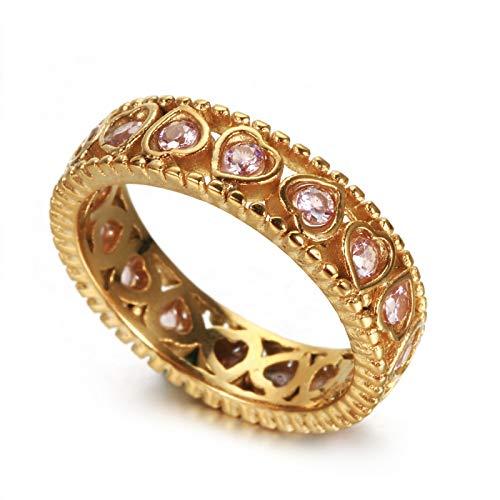 ANAZOZ Titan Ring Damen Herzen Ringe für Frauen Trauringe Gold Siegelring Größe 57 (18.1)