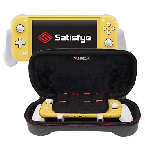 Satisfye - ZenGrip Go Slim Bundle (Lite), Gray - Accessories Compatible with Nintendo Switch Lite - Bundle includes: Grip Lite, Slim Case. BONUS: 2 Thumbsticks