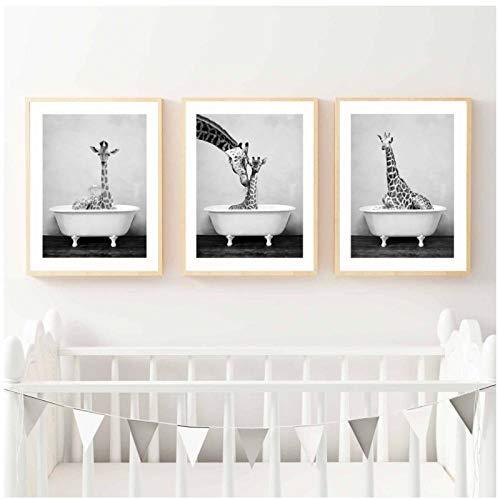 Terilizi Leinwanddruck Wohnkultur Wandkunst Malerei Panda Giraffe Tierbaby in Badewanne Bild Nordischen Stil Poster Für Kinderzimmer-30 * 40 cm ungerahmt-3 stück