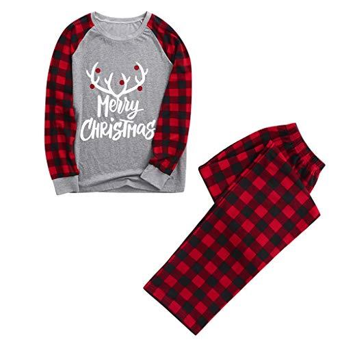 Dayboom Weihnachts Schlafanzug Familie Weihnachtspyjama Weihnachts Pyjama Schlafanzüge Weihnachten Damen Kinder Herren Baby Mädchen Jungen Nachtwäsche Sleepwear Schlafshirt (Grauer Mann,M)
