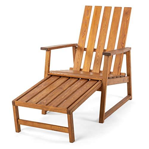 Ampel 24, Chaise de Jardin Tortuga avec accoudoirs en Bois de mélèze résistant aux intempéries, Fauteuil avec Repose-Pieds Extensible