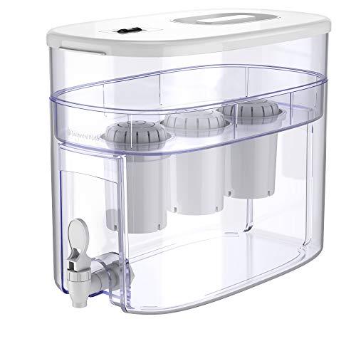 pH RECHARGE 3F - Wasserspender mit 3 Filtern für natürlich gereinigtes, basisches, ionisiertes Trinkwasser - reduziert Kalk & erhöht pH-Wert - mit Zapfhahn - BPA-freier Kunststoff - 12,5 l