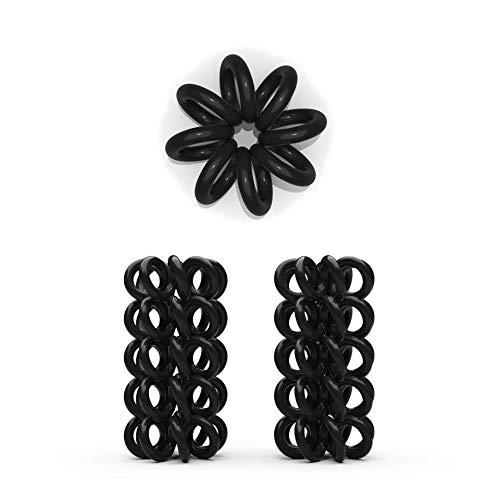 10er Set Spiral Haargummi - Haargummis für weniger Spliss und gebrochene Haare - Haargummi Spirale für feine Haarpartien - Telefonkabel Spiralhaargummi, schwarz, 2 cm