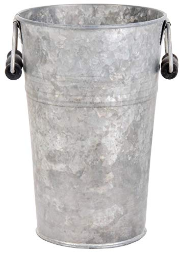 Esschert Design Blumentopf, Übertopf Vase in grau aus Zink, Größe S, ca. 16 cm x 14 cm x 21 cm
