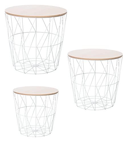 Brandsseller 3er Tischset Beistelltisch Couchtisch Ø 29 cm Ø 34 cm Ø 39,5 cm Metall/Holz (3 er Set, Holz/Weiß)