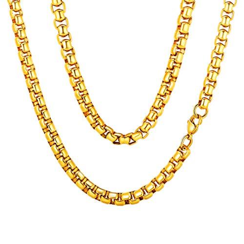 FaithHeart Gold Venezianierkette Edelstahl Luxus Kastenkette 76 cm x 6 mm Jean Chain